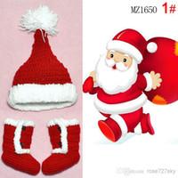 Wholesale Happy New year baby winter cap snow shoes set Cute Santa Claus Winter warm cap thick cap Handmade baby hats