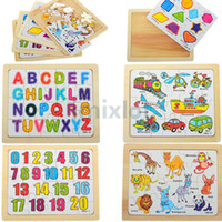 Wholesale Letters Animal Digital Wood Jigsaw Develop Intelligence Educational Toys Children Gifts Games Puzzles JA07018