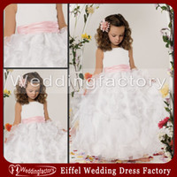 Reference Images beautiful wedding dresses for cheap - Lovely Puffy Flower Girl Dress Custom Made Beautiful Jewel Neck Ankle Length White Ivory Gown for Girls Ruffled Skirt Cheap High Quality