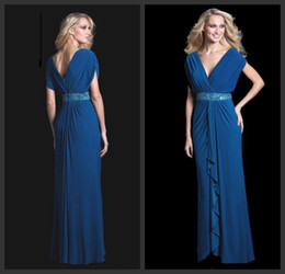 Wholesale 2014 Capped Shoulder Stylish Blue V neck A line Mother of the Bride Dresses with Sequins Sash Women Party Evening Gowns
