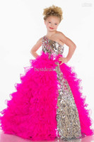 Girl ball gown flower girl dresses - 2014 Girl s Pageant Dresses Cute Princess One Shoulder BlingBling Sequins Pleat Organza Fuchsia White Ball Gown Flower Girl Dresses s