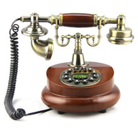 Wholesale Upscale European style antique telephones streamlined fashion retro style antique wood block shf6100a red wine