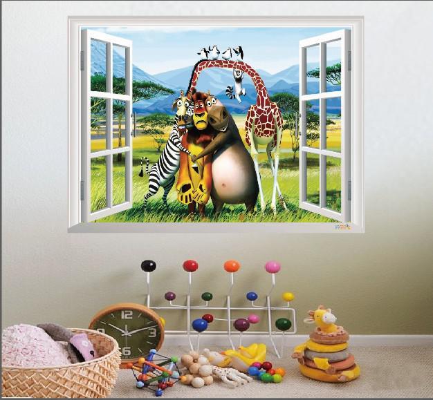 Cartoon Wall Stickers Fake Window Animals Madagascar