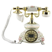 Wholesale High end fashion phone pastoral style retro landline Caller ID antique machine beautifully carved antique white