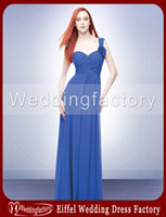 black and white bridesmaid dress - 2014 Vintage Bridesmaid Dress Patterns A Line One Shoulder Neckline Chiffon Prom Dress in Royal Blue with Flower and Pleats
