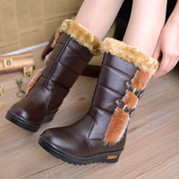Wholesale Warm Fashion Snow Boots for Women Winter Buckle Med Boots Designers Women Boots Glossy Leather Waterproof Boots Size to