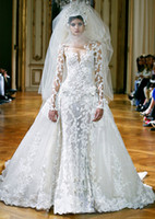 Wholesale 2014 New Collection Zuhair Murad Empire Bridal Gown Wedding Dresses With High Neck Long Sleeve Ruffled Sheer Ivory See Through Lace