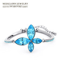 Wholesale Neoglory Jewelry MADE WITH SWAROVSKI ELEMENTS Bangles Bracelets Rhinestones Crystal Flower Fashion Gift Colorful New