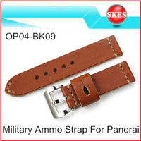 Wholesale Italy Calf Skin Genuine Leather Watchband mm Military Ammo Watch Band Strap For Panerai Watch PAM With Buckle