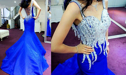 Wholesale Custom Made Pageant Dresses Real Image Beautiful Crystals Beads Spaghetti Luxury Royal Blue Mermaid Prom Dresses Evening Gowns