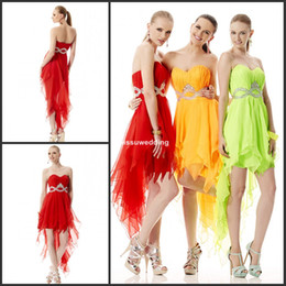 Wholesale Beautiful Hot sale Sweetheart short front long back Chiffon Ruffles beads Crystal zip Party gowns fashion cocktail gowns Lovely prom dress