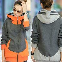 best hoodie winter - Best Quality women s high collar hoodies splicing color wool thickening fleeces zipper cardigan colors M XXL