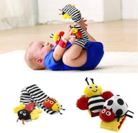 Wholesale S5Q New High Contrast Wrist Strap Socks Rattles Hands Foot Bell Lovely Baby Toys New AAABDS