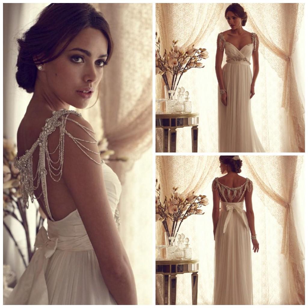 2016 Goddess Beading Wedding Dresses Chiffon Long Column