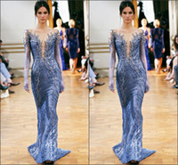 Wholesale 2014 Zuhair Murad Sexy Evening Dresses V Neck Long Sheer Sleeve Appliques Beads Sheath Long Light Sky Blue Prom Pageant Party Gowns