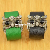 Wholesale Min order is mix order Fashion Costume jewelry rhinestone owl charm bangle leather bracelet for women B565