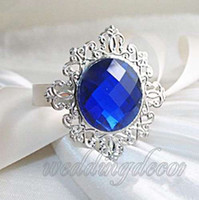 Wholesale 24pcs Royal Blue Serviette Gem Napkin Rings Wedding Party Bridal Dinner Favour Wedding Bridal Shower Favors Favour Supplies Upick Colours