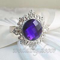 Wholesale 24pcs Purple Serviette Gem Napkin Rings Wedding Party Bridal Dinner Favour Decoration Wedding Bridal Shower Favour Supplies Upick Colours