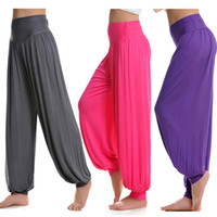Wholesale Plus Size M XXL Colors Women Lady dance Sport pants yoga pants Comfy Long Pants Belly Wide Trousers