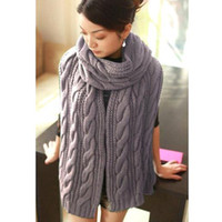 Wholesale S5Q New Fashion Korean Winter Women Men Braided Knit Wool Long Scarf Wrap Shawl Scarves AAACQT
