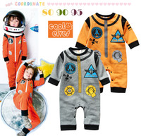 Boy Spring / Autumn 100% Cotton Spring and Autumn Airlines rocket models long-sleeved baby boy cute rompers FG344