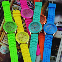 Wholesale Colorful Geneva Watch Gold Colored Style Rubber Candy Jelly Fashion Unisex Silicone Quartz Watches Men s Woman Rubber