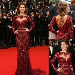 Wholesale 2014 New Arrival Long Sleeves Boat Neck Burgundy Beaded Appliqued Sheath Nude Tulle Cheryl Cole Zuhair Murad Celebrity Dress Evening Dresses
