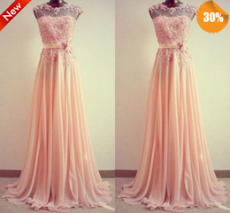 Sexy See Through High Neck Long Chiffon Applique Lace Bridesmaid Dresses Ivory Coral Yellow Red Royal Blue Lavender Purple Green With Sash