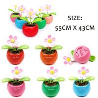 Wholesale S5Q Solar Powered Flip Flap Flower Car Geek Toys Swing Dancing Flowerpot Gift New AAAARV