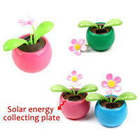 Wholesale S5Q Solar Powered Flip Flap Flower Car Geek Toys Swing Dancing Flowerpot Gift New AAAARV