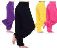 Women Modal Pants Modal Women Ladies Solid Harem Yoga Sport Flare Pant Belly Elastic Waist Dance Club Boho Wide Loose Long Trousers 5pcs lot