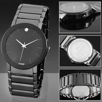 Wholesale S5Q Men s Fashion Quartz Pointer Stainless Steel Black Brand New Display Wrist Watch New AAAAVX