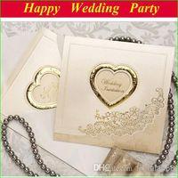 elegant wedding invitations - Elegant Embossed Wedding Card Invitations Laser cut Heart Flower Folded Wedding Invitation Champagne