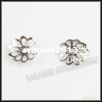 Wholesale End Caps Filigree Flower Charms Beads Rhodium Plated Iron Jewelry Findings Fit Bracelets Making mm