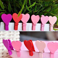 Wholesale S5Q New x12 Mini Wood Heart Paper Photo Note Money Gift Clip Clamp Girl Toys AAAABY