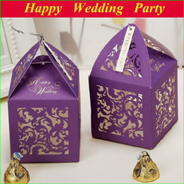 Wholesale Floral Paper Candy Boxes Purple Laser cut Wedding Favors Box Chocolate Gift Box