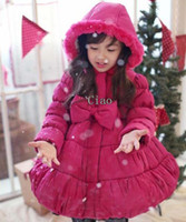 Coat Girl Winter Girl Clothes Children Hooded Overcoat Kids Quilted Coat Girls Cute Red Coats Winter Coat Child Clothing Fashion Bowknot Princess Long Coats