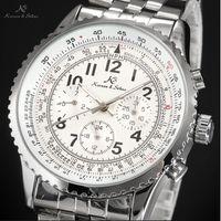 Men's aviator wrist watch - Classic KS Aviator Stainless Full Steel Luxury Calendar Waterproof Wrap Gift Wrist Automatic Sport Mechanical Men s Watch KS099