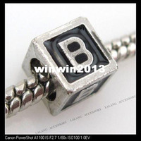 b big lots - Square Letter B Black Charms Big Hole Beads Fit European Bracelets x7mm