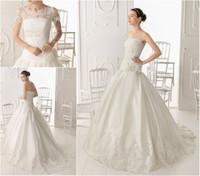 Wholesale Vogue Custom Made Ball Gown Wedding Dress Bridal Gown Muslim Detachable Short Sleeves Jacket Organza Fabric Chapel Train Hand Made Flower