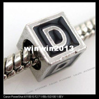 Fashion big d bracelet - Fashion Letter D Square Black Charms Big Hole Beads Fit European Bracelets x7mm