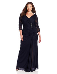 Wholesale 2014 Affortable Plus Size A line V neck Long Sleeve Floor Length Draped Sash Tulle Evening Formal Women Dress