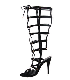 2018 fashion shoes woman peep toe gladiator sandals lace-up black stiletto heel sandals high heels feminino melissa women shoes sandalia