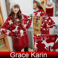 christmas jumpers - New Winter Fall Womens Girls Long Pullover Sweater Retro Reindeer Jumper Knitting Sweater Christmas Xmas Gift CL4803