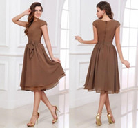 Wholesale Brown A Line Bridesmaid Dress Scoop Neck Short Sleeves Tea Length Zipper Up Covered Button Chiffon Wedding Party Dresses dhgate Olesa
