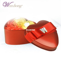 Wholesale Special Wen Hong creative Korean heart shaped candy boxes personalized festive red tin candy box