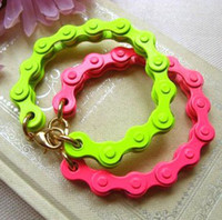 Charm Bracelets alloy modeling - Foreign trade of the original single big European and American style bicycle chain modeling fluorescent color gold bracelet