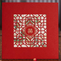 Invitation Cards Folded White Chinese Red Xi Lattice Wedding Invitations Cards(10 Pcs Lot) with Envelopes and Seal, Printable and Customizable