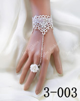 Wholesale Vogue White Black Bridal Lace Wedding Bracelets With Flower Ring Wrist Strap Bridal Jewelry Accessaries Christmas Gifts Lace3