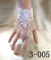 Wholesale Sexy White Bridal Lace Wedding Bracelets With Flower Ring Wrist Strap Bridal Jewelry Accessaries Christmas Gifts Lace3